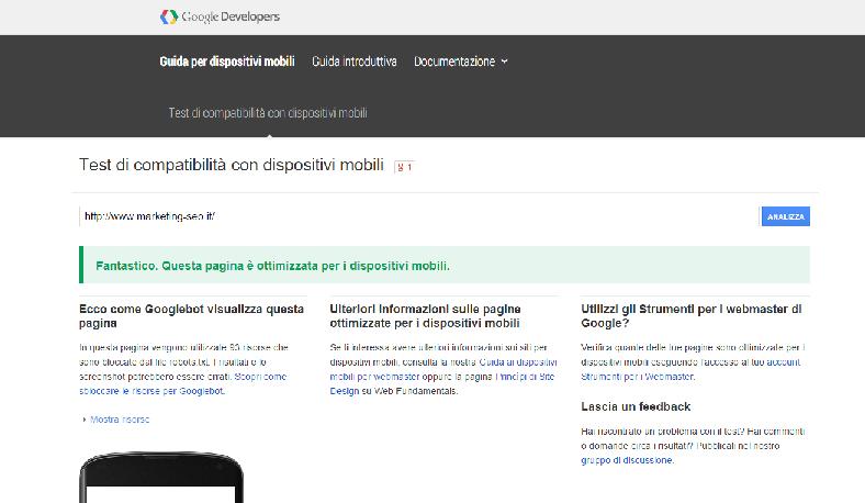 Posizionamento su google il motore premia i siti for Siti per mobili